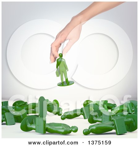 Clipart of a 3d Caucasian Female Hand Playing with Toy Business Man Figures, on a Shaded Background - Royalty Free Illustration by Mopic