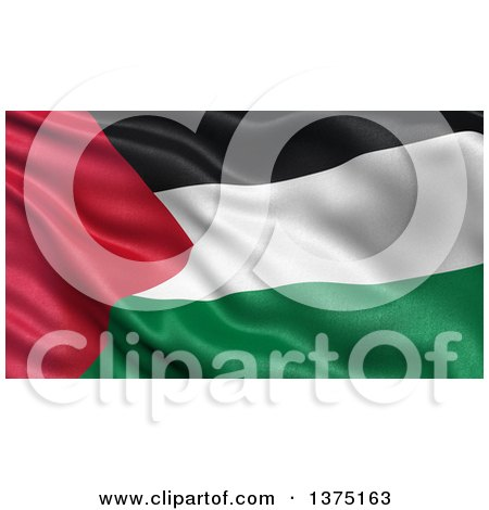 Clipart of a 3d Waving Flag of Palestine - Royalty Free Illustration by stockillustrations