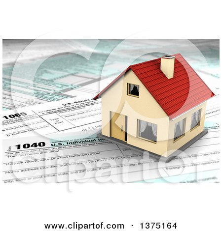 Clipart of a 3d House on Top of US Tax Forms - Royalty Free Illustration by stockillustrations