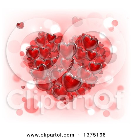 Clipart of a 3d Cluster of Red Hearts over Pink, White and Bokeh - Royalty Free Vector Illustration by AtStockIllustration