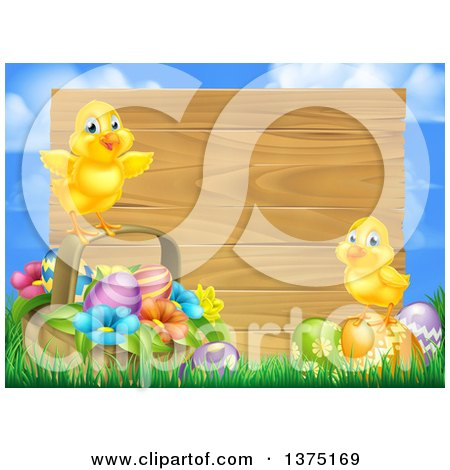 Clipart of Cute Yellow Chicks on Easter Eggs and a Basket in the Grass, over a Blank Wood Sign and Sky - Royalty Free Vector Illustration by AtStockIllustration