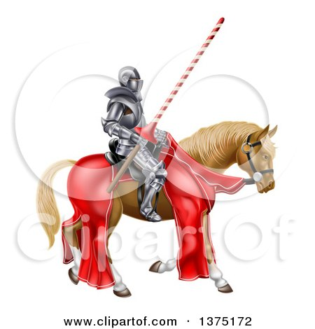 Clipart of a 3d Fully Armored Jousting Knight Holding a Lance on a Horse - Royalty Free Vector Illustration by AtStockIllustration