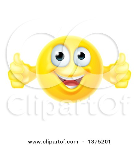 Clipart of a Yellow Smiley Emoji Emoticon Giving Two Thumbs up - Royalty Free Vector Illustration by AtStockIllustration