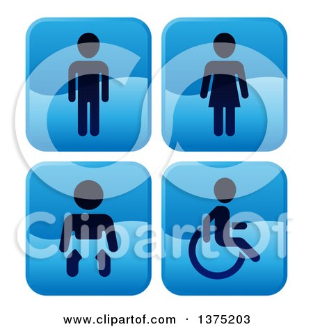 Clipart of Shiny Blue Square Male, Female, Baby and Handicap Bathroom Icons - Royalty Free Vector Illustration by AtStockIllustration