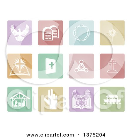 Clipart of White Christian Icons on Pastel Colored Tiles - Royalty Free Vector Illustration by AtStockIllustration