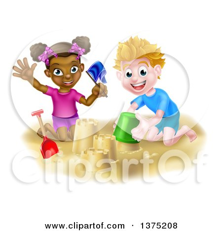 Clipart of a Happy White Boy and Black Girl Playing and Making Sand Castles on a Beach - Royalty Free Vector Illustration by AtStockIllustration