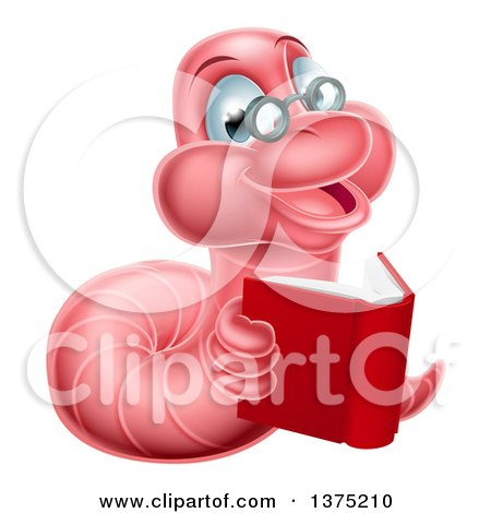 Clipart of a Bespectacled Pink Earthworm Holding a Book - Royalty Free Vector Illustration by AtStockIllustration