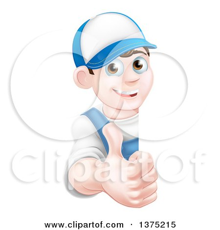 Clipart of a Happy Young Brunette Caucasian Mechanic Man in Blue, Wearing a Baseball Cap, Giving a Thumb up Around a Sign - Royalty Free Vector Illustration by AtStockIllustration