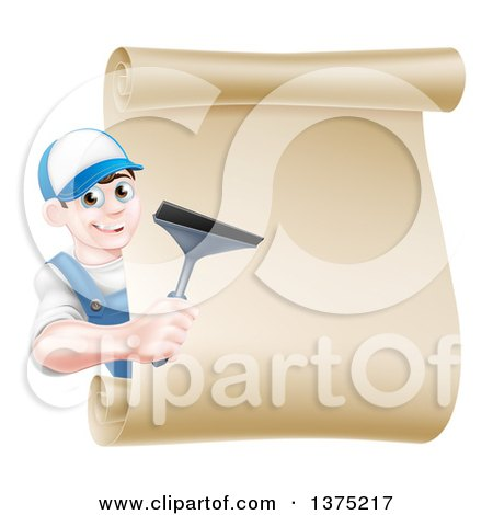 Clipart of a Happy Young Brunette Caucasian Window Cleaner Man Holding a Squeegee Around a Scroll Sign - Royalty Free Vector Illustration by AtStockIllustration