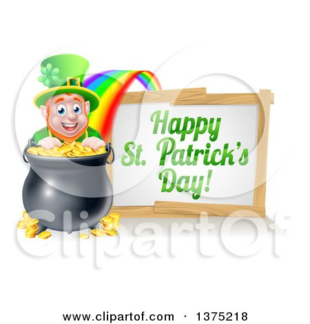 Clipart of a Cartoon Leprechaun Smiling over a Pot of Gold at the End of a Rainbow, with a Happy St Patricks Day Sign - Royalty Free Vector Illustration by AtStockIllustration