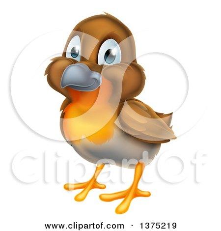 Clipart of a Happy Robin Bird - Royalty Free Vector Illustration by AtStockIllustration