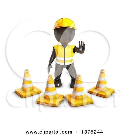Clipart of a 3d Black Man Construction Worker Standing Behind Cones, on a White Background - Royalty Free Illustration by KJ Pargeter