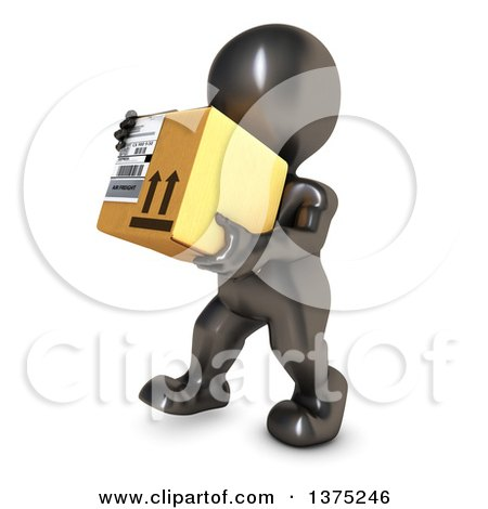 Clipart of a 3d Black Man Carrying a Box, on a White Background - Royalty Free Illustration by KJ Pargeter