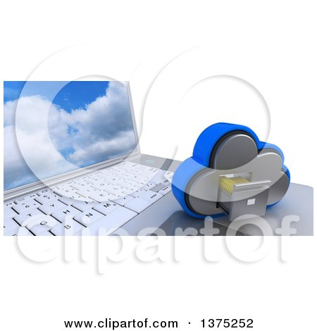 Clipart of a 3d Cloud Drive Filing Cabinet Icon Resting on a Laptop Computer with a Sky Screen Saver, on White - Royalty Free Illustration by KJ Pargeter