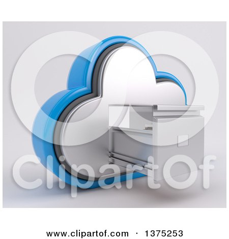 Clipart of a 3d Cloud Icon with an Empty Open Filing Cabinet, on a Shaded Background - Royalty Free Illustration by KJ Pargeter