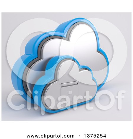 Clipart of a 3d Cloud Icon with a Filing Cabinet, on a Shaded Background - Royalty Free Illustration by KJ Pargeter