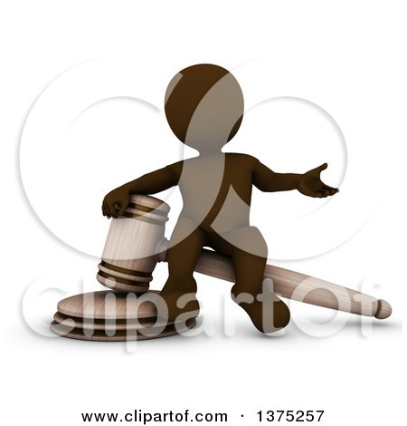 Clipart of a 3d Brown Man Auctioneer or Judge Sitting on a Giant Gavel, on a White Background - Royalty Free Illustration by KJ Pargeter