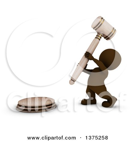 Clipart of a 3d Brown Man Auctioneer or Judge Banging on a Giant Gavel, on a White Background - Royalty Free Illustration by KJ Pargeter