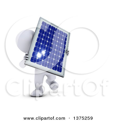 Clipart of a 3d White Man Holding a Solar Panel, on a White Background - Royalty Free Illustration by KJ Pargeter