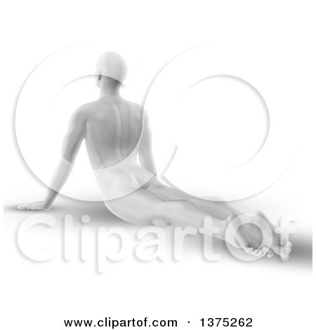 Clipart of a 3d Grayscale Anatomical Man Stretching on the Floor in a Yoga Pose, on White - Royalty Free Illustration by KJ Pargeter