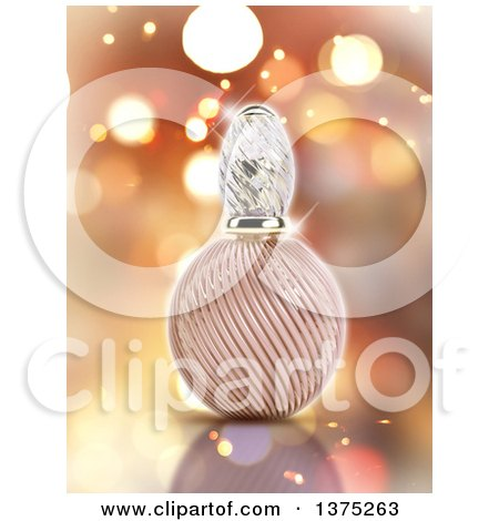 Clipart of a 3d Perfume Bottle over Flares - Royalty Free Illustration by KJ Pargeter