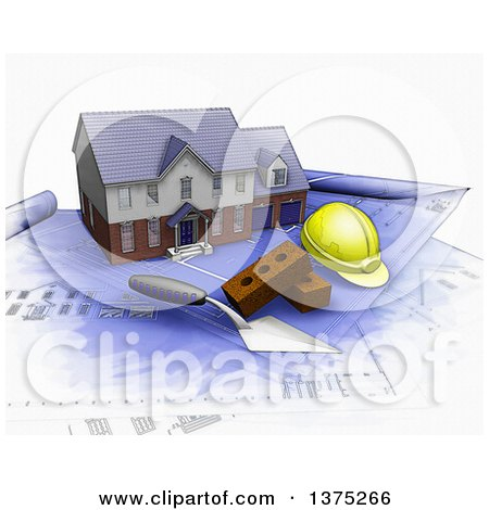 Clipart of a 3d Watercolor Styled Custom Two Story Residential Home, a Trowel, Bricks and a Hardhat on Top of Blueprints, on a White Background - Royalty Free Illustration by KJ Pargeter