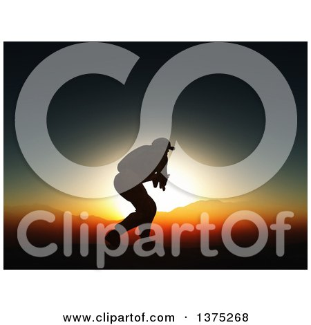 Clipart of a 3d Silhouetted Soldier in Combat, Against a Sunset and Mountains - Royalty Free Illustration by KJ Pargeter