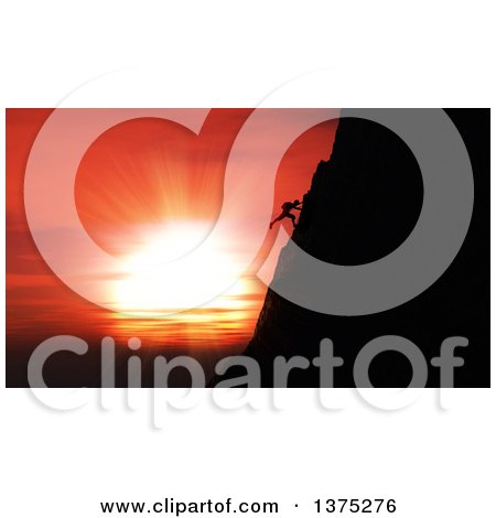 Clipart of a 3d Silhouetted Rock Climber Against a Magnificent Sunset Sky - Royalty Free Illustration by KJ Pargeter