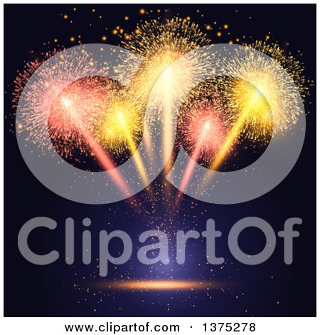 Clipart of a Burst of Fireworks over Black and Blue - Royalty Free Vector Illustration by KJ Pargeter