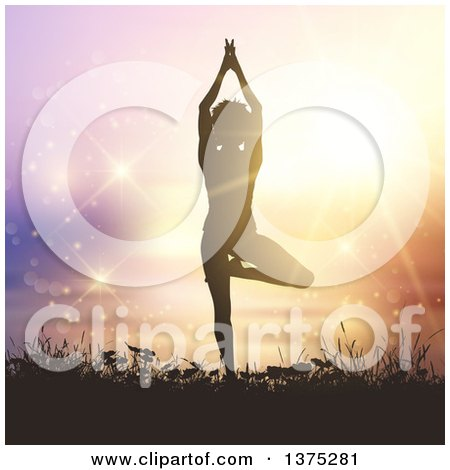 Clipart of a Fit Silhouetted Woman Doing Yoga Against a Sunset with Sparkles - Royalty Free Vector Illustration by KJ Pargeter