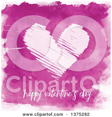 Clipart of a Scribbled Love Heart with Happy Valentines Day Text over Watercolour - Royalty Free Vector Illustration by KJ Pargeter