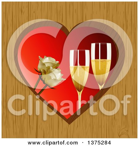 Clipart of 3d Champagne Glasses and White Roses Inside a Wooden Heart Frame over Red - Royalty Free Vector Illustration by elaineitalia
