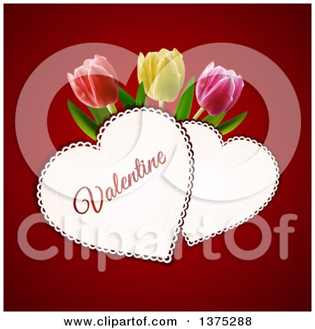 Clipart of Doily Valentine Hearts with Text and 3d Tulips over Red - Royalty Free Vector Illustration by elaineitalia