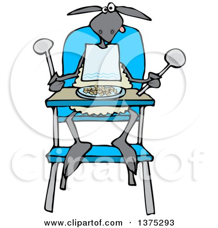 Cartoon Clipart of a Baby Lamb Sitting in a High Chair and Wearing a Bib - Royalty Free Vector Illustration by djart