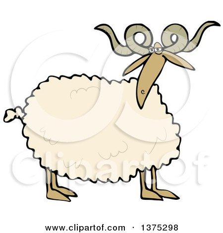 Cartoon Clipart of a Curly Horned Sheep - Royalty Free Vector Illustration by djart