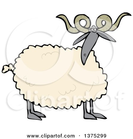 Cartoon Clipart of a Curly Horned Sheep with a Black Face and Legs - Royalty Free Vector Illustration by djart