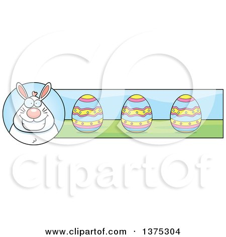 Clipart of a Happy Chubby White Easter Bunny Banner - Royalty Free Vector Illustration by Cory Thoman