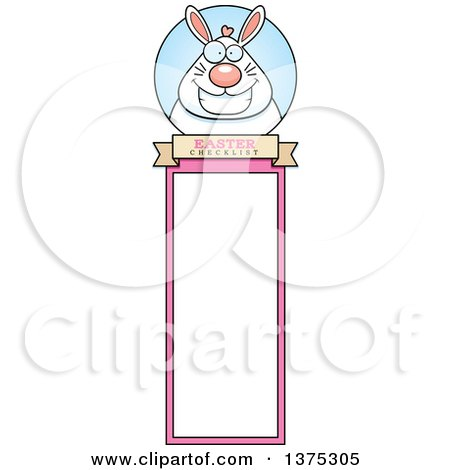 Clipart of a Happy Chubby White Easter Bunny Bookmark - Royalty Free Vector Illustration by Cory Thoman