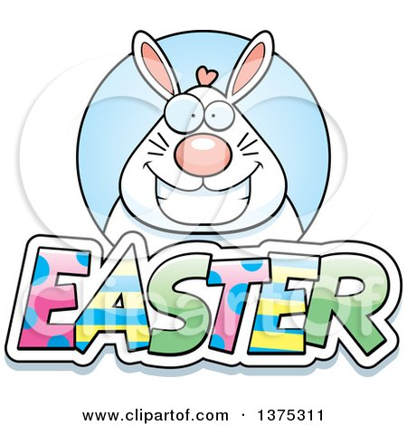 Clipart of a Happy Chubby White Easter Bunny - Royalty Free Vector Illustration by Cory Thoman