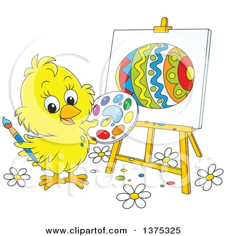 Clipart of a Cute Yellow Easter Chick Painting an Egg on a Canvas - Royalty Free Vector Illustration by Alex Bannykh