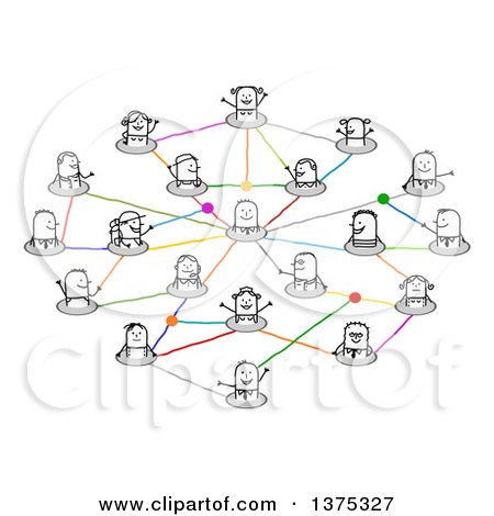 Clipart of a Social Network of Connected Stick People with Different Careers and One Man in the Center - Royalty Free Vector Illustration by NL shop