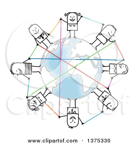 Clipart of a Circle of Connected Stick Men and Women Around Earth - Royalty Free Vector Illustration by NL shop