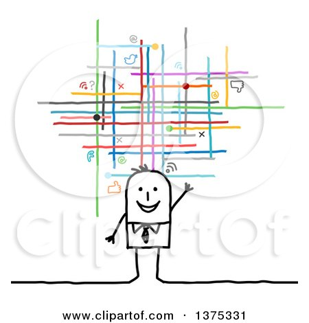 Clipart of a Happy Stick Business Man Waving Under Social Networking Lines and Icons - Royalty Free Vector Illustration by NL shop