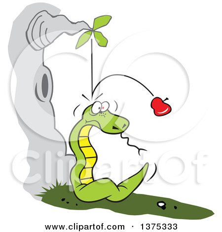 Cartoon Clipart of Gravity Causing an Apple to Fall from a Tree and Bounce off of a Snakes Head - Royalty Free Vector Illustration by Johnny Sajem