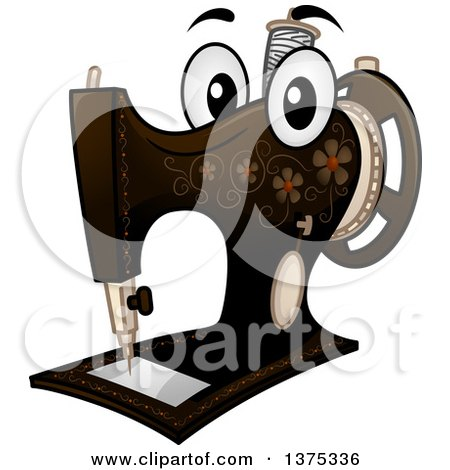 Clipart of a Vintage Sewing Machine Mascot - Royalty Free Vector Illustration by BNP Design Studio