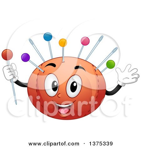 Clipart of a Sewing Pin Cushio Holding a Pin - Royalty Free Vector Illustration by BNP Design Studio