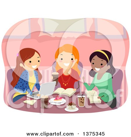 Clipart of a Group of Happy Teenage Girls Studying at a Cafe - Royalty Free Vector Illustration by BNP Design Studio
