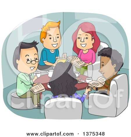 Clipart of Happy Adults Discussing Books at a Club Meeting - Royalty Free Vector Illustration by BNP Design Studio