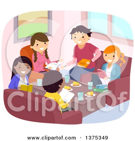 Clipart of a Group of Teenagers Discussing a Book over a Meal - Royalty Free Vector Illustration by BNP Design Studio