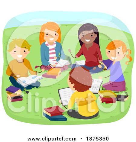 Clipart of a Group of Teenagers Reading in a Park - Royalty Free Vector Illustration by BNP Design Studio